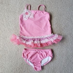 Isobella & Chloe Toddler girls pink Tankini